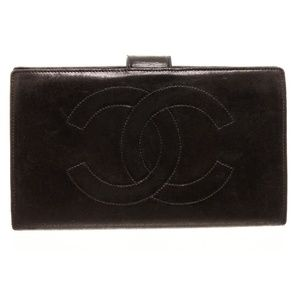 Chanel Black Leather Timeless French Purse Wallet